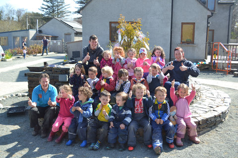 Thumbs up from everybody at Glen Outdoor School.